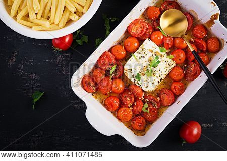 Fetapasta. Trending Viral Feta Bake Pasta Recipe Made Of Cherry Tomatoes, Feta Cheese, Garlic And He