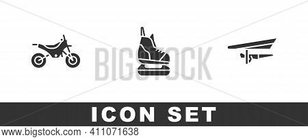 Set Mountain Bike, Skates And Hang Glider Icon. Vector