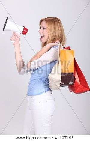Woman announcing shopping deals poster