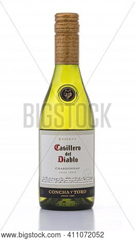 Swindon, Uk - March 5, 2021: Bottle Of Castillo Del Diablo Chardonnay White Wine On A White Backgrou