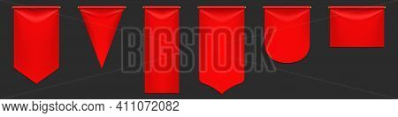 Red Pennant Flags Mockup, Blank Hanging Banners With Rounded, Pointed And Straight Edges. Medieval H