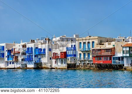 Seafront Little Venice Of Mykonos Town Or Chora, Cyclades, Greece. Bars, Cafes, Restaurants In White