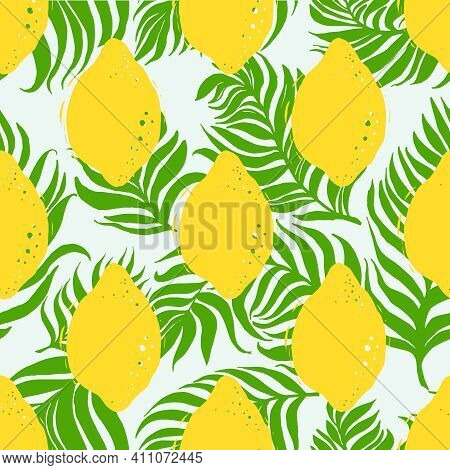 Lemon And Dypsis Palm Seamless Vector Pattern. Seamless Pattern With Lemon On Light Background.