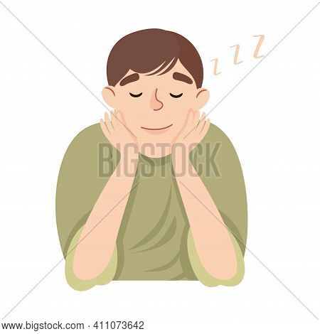 Young Man Slumbering Or Drowsing With Hand Reclined Upon His Head Vector Illustration