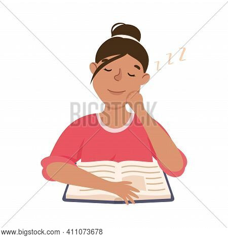 Young Woman With Open Book Slumbering Or Drowsing With Hand Reclined Upon His Head Vector Illustrati