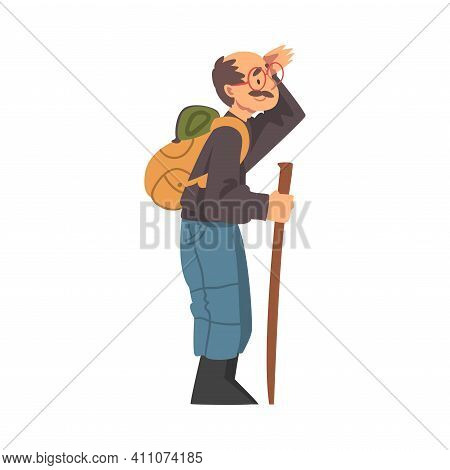 Moustached Grandpa With Backpack Hiking Vector Illustration