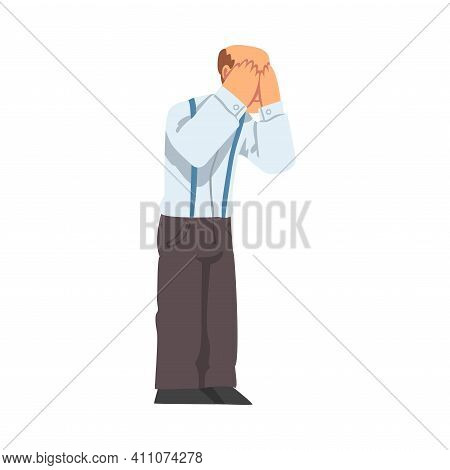 Grandpa Standing Covered His Face With Hands Vector Illustration
