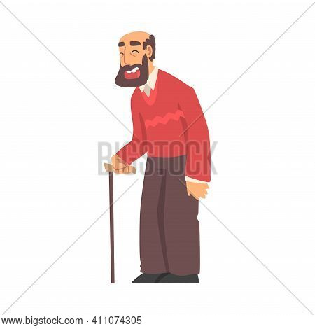 Grandpa Walking Leaning On Cane And Smiling Vector Illustration