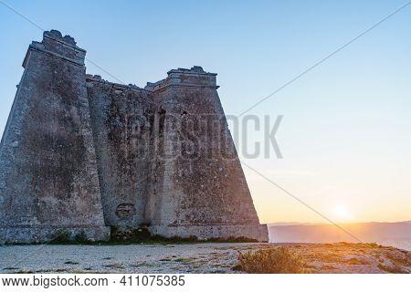 Mesa Roldan Tower At Sunset, Cabo De Gata Nijar Natural Park In Almeria Province, Andalusia Spain. T