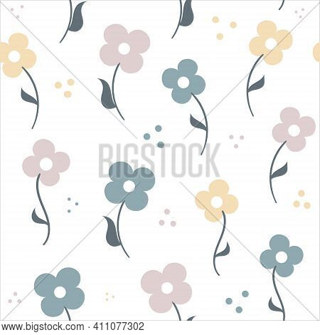 Doodle Hand Drawn Flowers. Floral Seamless Pattern. Childish Background For Printing, Fabric, Wrappi