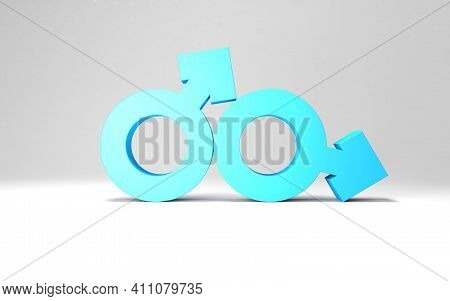 Gender Signs Illustration For Lgbt Themed Background With Two Sexual Male Couple Symbols. 3d Gender