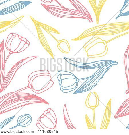 Tulip Colors Line Style Vector Seamless Pattern. Tulip Seamless Pattern Vector Background. Decorativ