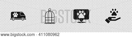 Set Veterinary Ambulance, Cage For Birds, Location Veterinary And Hands With Animals Footprint Icon.