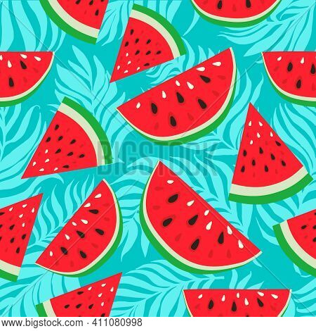 Watermelons With Black And White Seeds On Palm Dypsis Leaves Background. Seamless Watermelons Patter