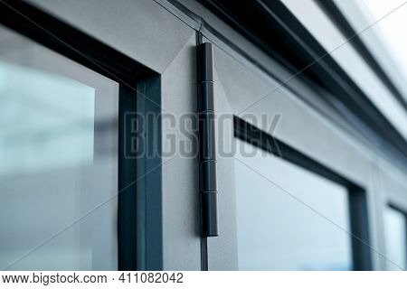 Fragment Aluminum Folding Door. Photo With A Copy-space.