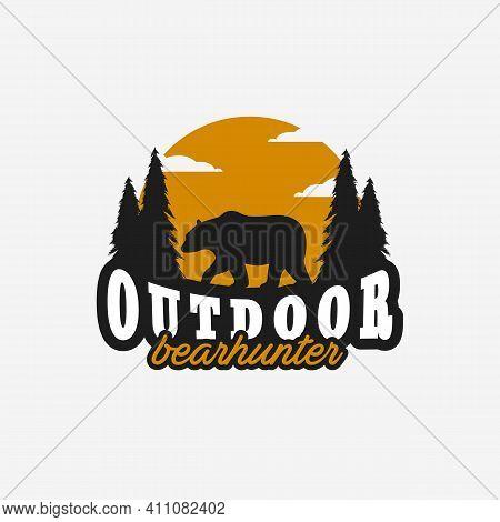 Outdoor Bear Logo Vector Design Illustration Vintage, Grizzly Bear, Polar Bear, Black Bear