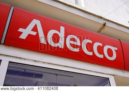 Bordeaux , Aquitaine France - 02 25 2021 : Adecco Sign Logo And Text Brand On Wall Building Facade T