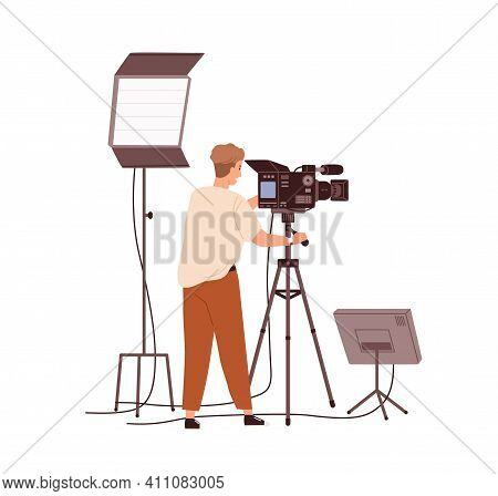 Cameraman Adjusting Camera Before Shooting Video. Tv-operator Or Videographer With Professional Stud