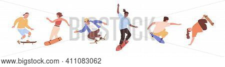 Set Of Modern Skaters Jumping With Skateboards. Young People Skate Boarding. Modern Street Activity.