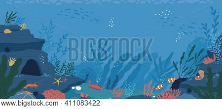 Underwater Life At Sea Or Ocean Bottom. Exotic Undersea World With Coral Reef, Seaweeds And Aquatic