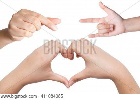Female Hands In The Form Of Heart And Concept I Love You Sign Isolated On White Background. Mini Hea