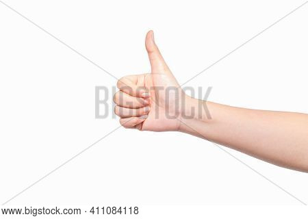 Gesture Of The Hand Concept Showing Thumb Up As Celebration And Congratulation Winner Isolated On Wh