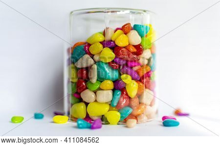 Different Fruit Candies. Colorful Bright Chewy Candies Covered With Sugar. Colorful Jelly Candies. C