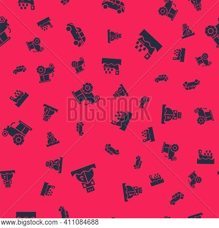 Set Cargo Ship, Hatchback Car, Tractor And With Boxes On Seamless Pattern. Vector