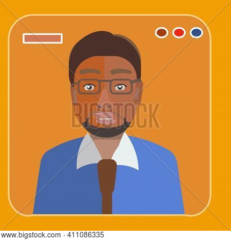 Man Attorney, Businessman Avatar. Flat Vector Illustration . Law Consulting, Juridical Help Online.