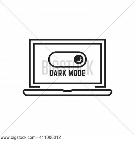 Black Darkmode Switch In Linear Laptop. Flat Style Trend Modern Minimal Logotype Graphic Design Isol