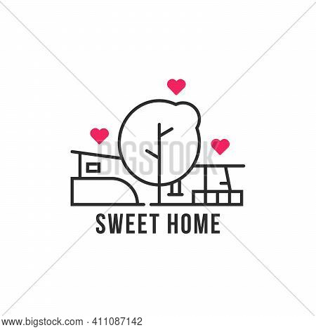 Linear Home In The Woods Icon. Flat Stroke Style Trend Cabin Logotype Graphic Lineart Design Isolate