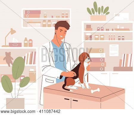 Happy Young Veterinarian Examining Dog With Stethoscope In Modern Vet Clinic. Health Check Or Medica