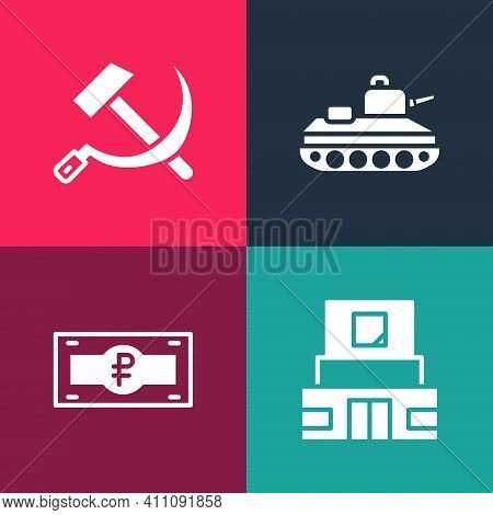Set Pop Art Mausoleum Of Lenin, Russian Ruble Banknote, Military Tank And Hammer And Sickle Ussr Ico