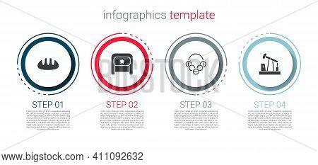 Set Bread Loaf, Ushanka, Russian Bagels And Oil Pump Or Pump Jack. Business Infographic Template. Ve