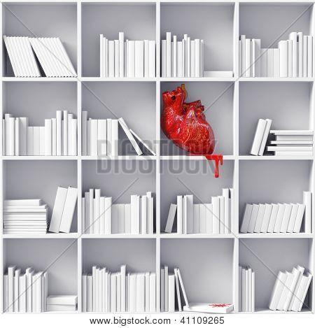 anatomical  heart on the bookshelves (3D concept)