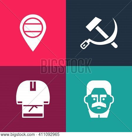 Set Pop Art Joseph Stalin, Kosovorotka, Hammer And Sickle Ussr And Location Russia Icon. Vector