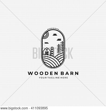 Line Art Wooden Barn House Logo Vector Design Illustration Label