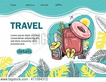 Design A Tourist Banner With A Palm Tree, Sea, Backpack, Sun Umbrella, Airplane For A Popular Touris