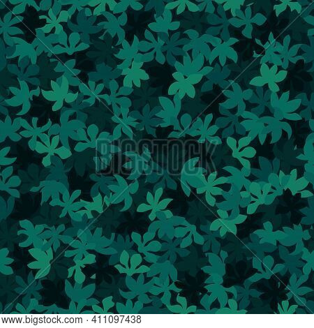 Seamless Pattern. The Malachite Green Trees Leaves Lying On A Ground