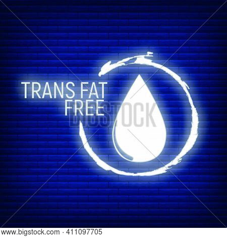 Trans Fat Free. Allergen Food, Gmo Free Products Neon Icon And Logo. Intolerance And Allergy Food. C