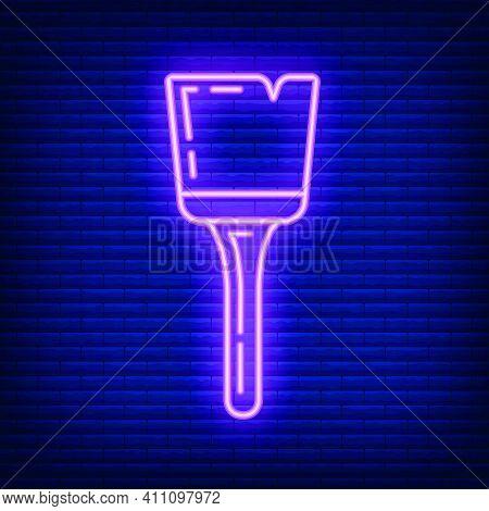 Neon Brush Roller For Paint Renovation House Icon Toolkit, Concept Brush Repair Building Art Line Fl