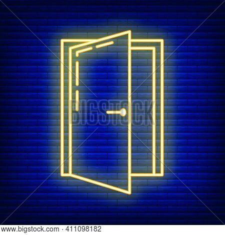 Entry Neon Doorway Repair Home Icon, House Renovation Concept Line Flat Vector Illustration, Isolate