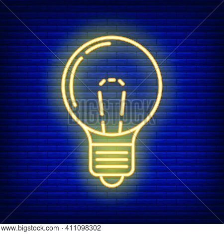 Yellow Neon Electric Light Bulb Home Icon, Concept Lamp Line Flat Vector Illustration, Isolated On D