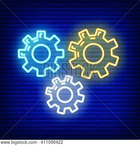 Gear Neon Pinion Mechanism Icon, Concept Engineering Stuff Object Line Flat Vector Illustration Art,