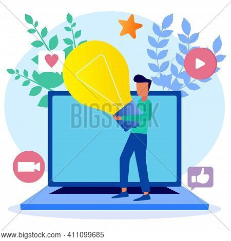 Vector Illustration Isolated On White Background. Social Media Influencers Are At Work. Create Conte