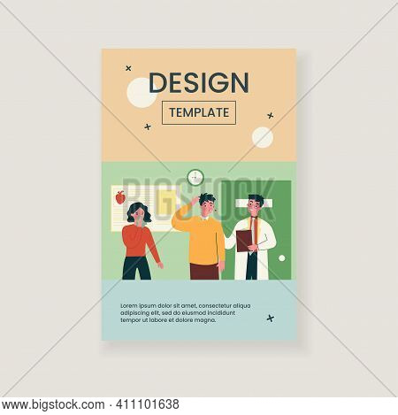Doctor Curing Patients With Flu. Virus, Disease, Queue Flat Vector Illustration. Healthcare And Ther