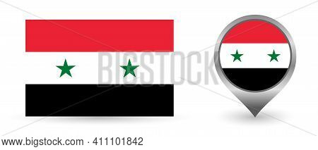 Vector Flag Syria. Location Point With Flag Syria Inside.