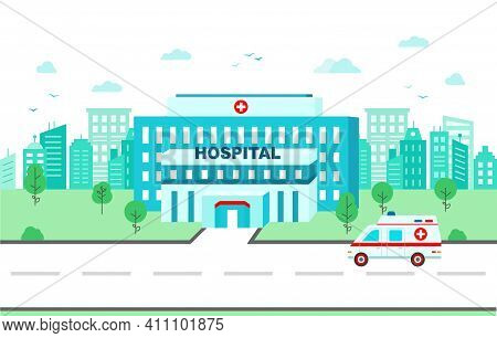 Medical Center Building On Background Of The City In Flat Style.