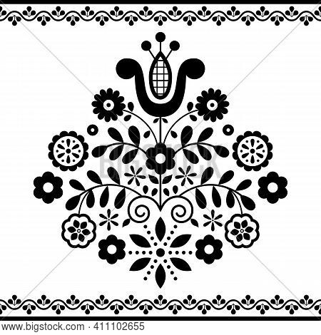 Polish  Floral Folk Art Vector Pattern Inspired By Traditional Highlanders Embroidery Lachy Sadeckie