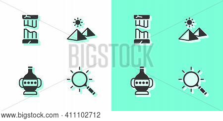 Set Magnifying Glass, Broken Ancient Column, Ancient Amphorae And Egypt Pyramids Icon. Vector